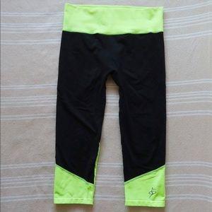 Neon Yellow Yoga Capri Leggings